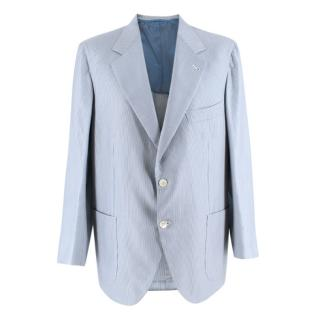 Donato Liguori Blue Striped Cotton Tailored Single Breasted Jacket