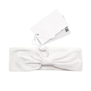 Il Trenino Artisanal White Cotton Blend Bow and Star Headband