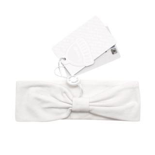 Il Trenino Artisanal White Cotton Blend Bow and Star Headband