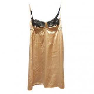 Dolce & Gabbana Gold Lace Trimmed Slip Dress
