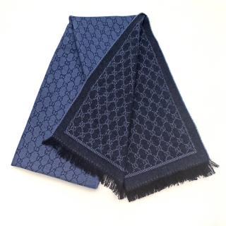 Gucci Blue Supreme Reversible Wool Scarf