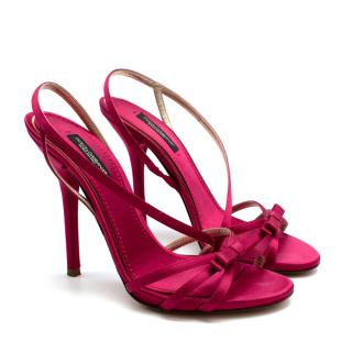 Dolce & Gabanna Pink Satin Strappy Heeled Sandals