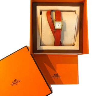 Hermes Heure H watch, 17.2 x 17.2 mm with Orange Swift Leather Strap