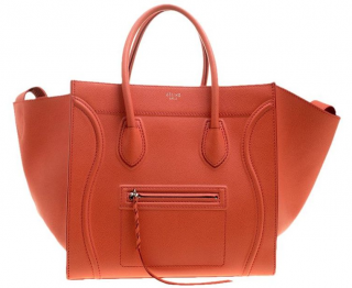 Celine Orange Leather Phantom Luggage Tote