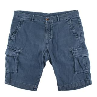 Loro Piana Blue Cotton & Linen blend Cargo Shorts