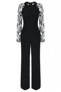 Elie Saab black lace panelled jumpsuit