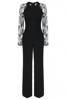 Elie Saab black lace panelled jumpsuit