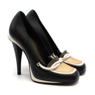 Fendi Black White & Gold Lizard Embossed Leather Loafer