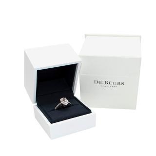 De Beers Platinum Oval Solitaire Diamond Ring