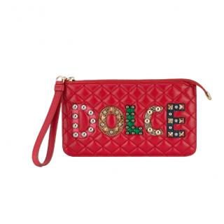 Dolce & Gabbana Red Quilted Leather Studded Patch Purse