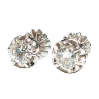 Bespoke Art Deco Platinum Set Solitaire Diamond Earrings