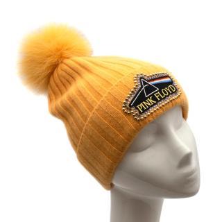 Minnie Rose Yellow Pink Floyd Beanie Hat & Fox Fur