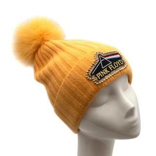 Minnie Rose Yellow Pink Floyd Beanie Hat & Fox Fur