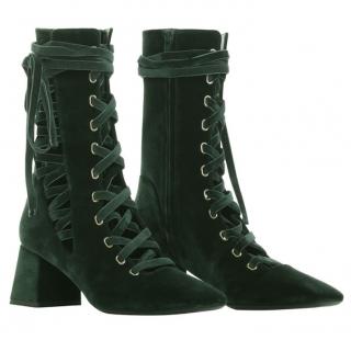 Zimmermann FW20 Green Velvet Lace-up Boots