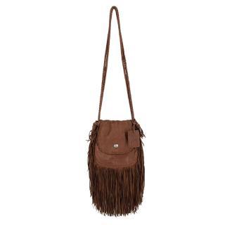Ralph Lauren Brown Leather Crossbody Tassel Bag