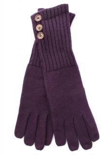 Loro Piana Purple Cashmere Ribbed Knit Gloves