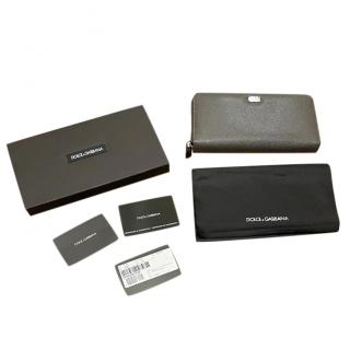 Dolce & Gabbana Grey Saffiano Leather Wallet