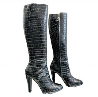 Gianfranco Ferre Black Croc Embossed Knee Boots