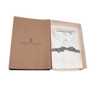 Brunello Cucinelli White Cotton Long Sleeve Shirt