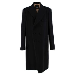 Allegri Long Black Double Breasted Cashmere Overcoat
