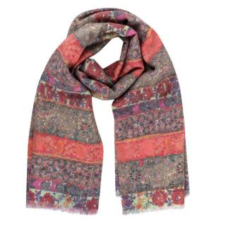 Paul Smith Orange Striped Wool Double Face Scarf