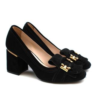 Tod's Black Suede Mid Heel Loafer Style Court Shoes
