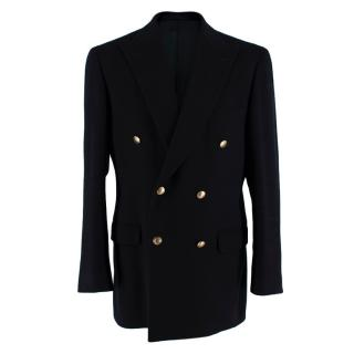 Aquascutum Black Double Breasted Cashmere Overcoat