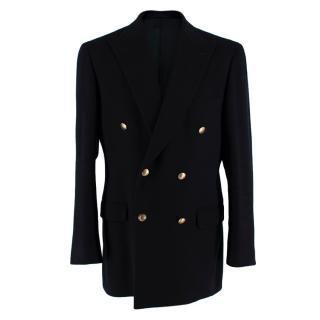 Aquascutum Black Double Breasted Cashmere Overcoat
