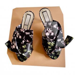 No.21 Floral Printed Satin Bow Mules