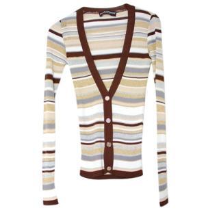 Dolce & Gabbana Beige Lurex Striped Lightweight Cardigan