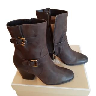 Michael Michael Kors Brown Leather Ankle Boots