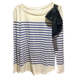 Claudie Pierlot Breton Stripe Embellished Top, size 2