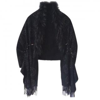 Bespoke Studded Wool Fur Trim Scarf