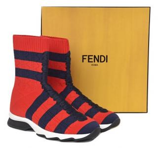 Fendi Red/ Blue Knit Socks Sneakers