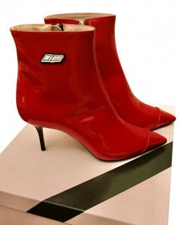 MSGM Red Patent Logo Ankle Boots