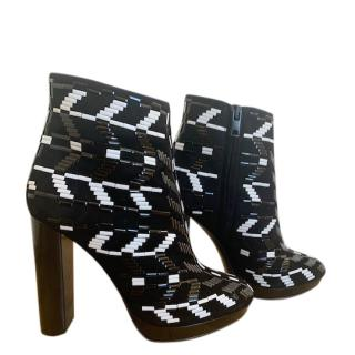 Burberry Prorsum Black & White Beaded Suede 115 Ankle Boots