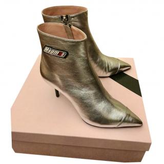 MSGM Metallic Silver Logo Ankle Boots