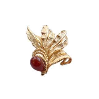 Christian Dior Gold Plated Vintage Garnet Brooch