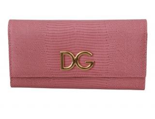 Dolce & Gabbana Pink Lizard Embossed Wallet