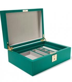 Smythson Emerald Green Grosvenor textured-leather jewelry box
