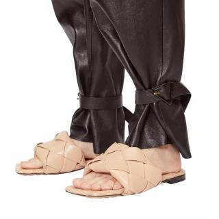 Bottega Veneta Lido Camel Intrecciato Leather Slides
