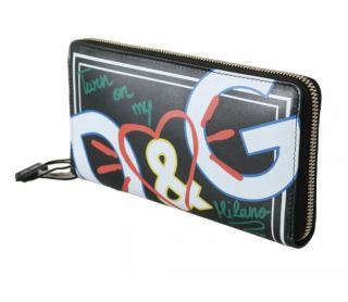 Dolce & Gabbana Graffiti Print Zip-Around Continental Wallet