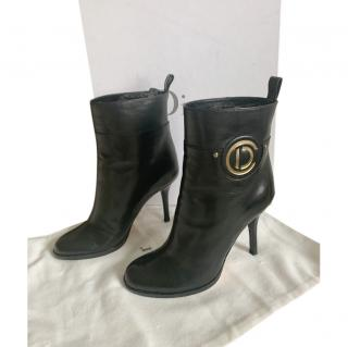 Dior Black Leather CD Buckle Ankle Boots