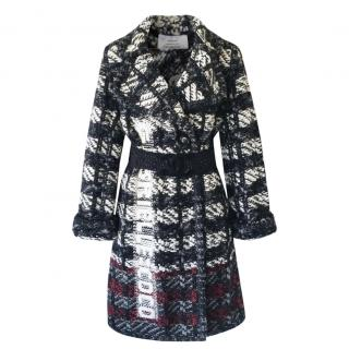 Chanel Black & White Tweed Gabrielle Intarsia Coat