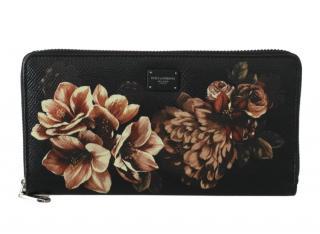 Dolce & Gabbana Black Leather Floral Print Wallet
