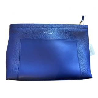 Smythson Panama Indigo Leather Toiletry Bag