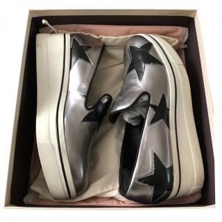 Stella McCartney Silver/Black Star Binx Slip-On Sneakers
