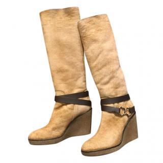 Moncler Beige Merino Wedge Knee Boots