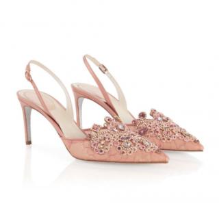 Rene Caovilla Veneziana Pink Crystal Slingbacks