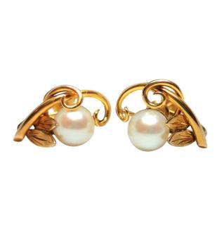 Bespoke 14ct Yellow Gold Natural Pearl Earrings